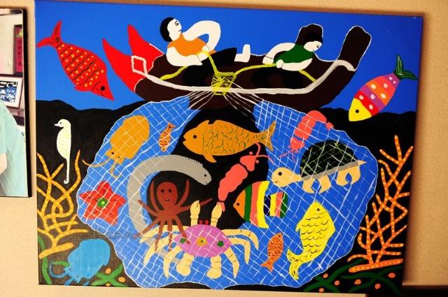 庙子岛上的渔民画图片