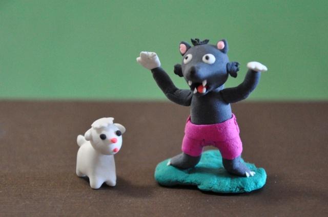 我的纸粘土作品:狼和小羊羔