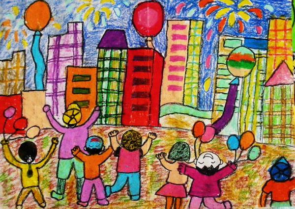 二年级部 家乡美 学生绘画获得一等奖的作品展