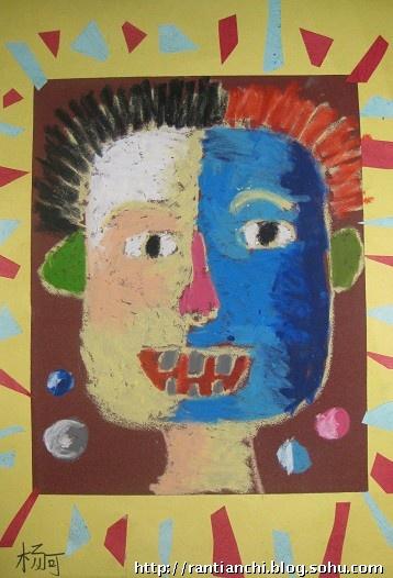 儿童创意砂纸画——夸张的人脸图片