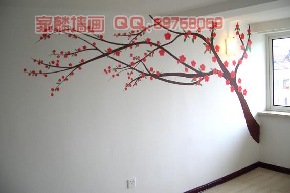 沈阳手绘墙画-桃花树-沈阳手绘墙画/墙体彩绘-搜狐