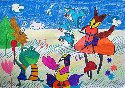 我们就是森林里的动物,我们学着动物的叫声,一起来开一场动物音乐会!
