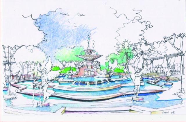 (棕榈泉国际花园意大利喷泉手绘图)
