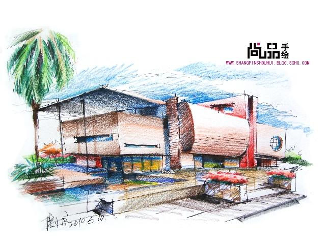 彩铅手绘建筑图_建筑彩铅效果图