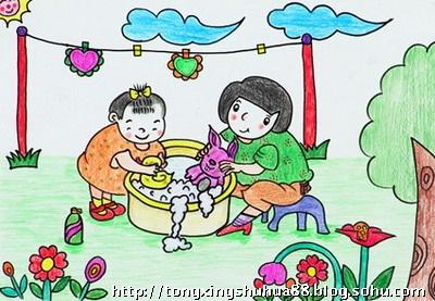 所有母亲永远快乐!儿童画-啊!