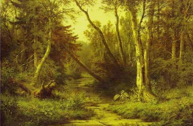 俄罗斯著名风景画家伊凡 希什金作品《雨中的橡树林》