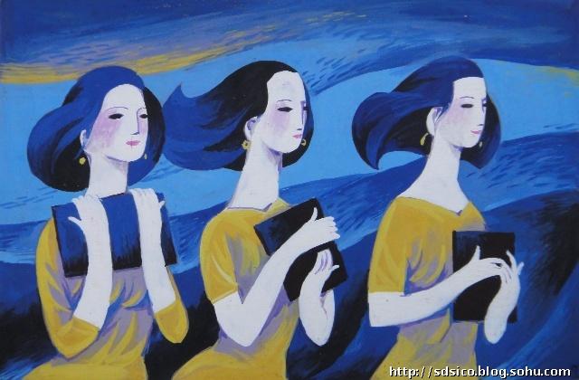 收藏-梁百庚水粉画《人物图案》原稿(三)-荣宝琳