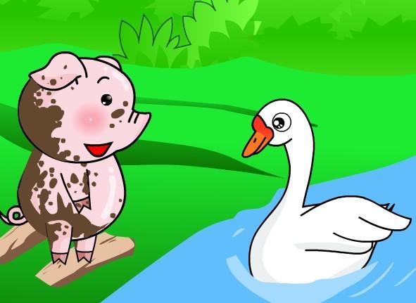 """长着长长的耳朵,短短的尾巴,红红的眼睛,小猪对小兔子说:""""小兔子,和我"""