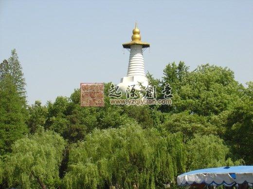 """扬州瘦西湖的白塔与""""白塔晴云""""(转自扬州起源创意)"""