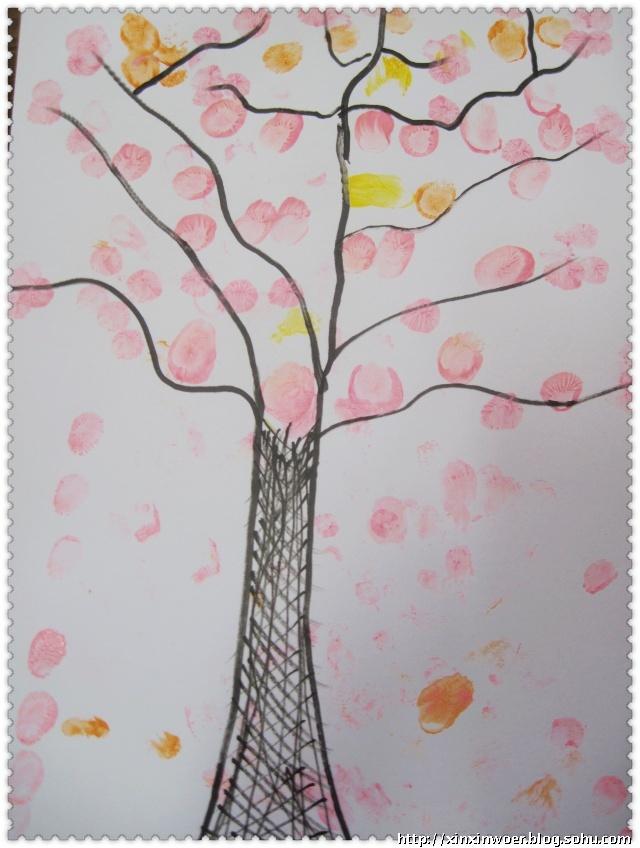 小鱼君家的春天主题二---满树花开迎春来(手指印章画)图片