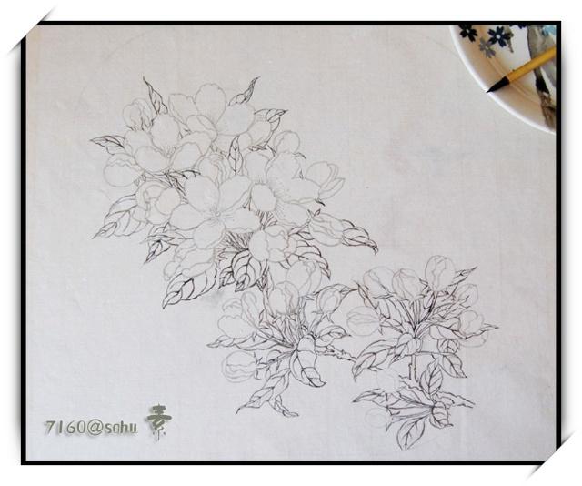 国画铅笔速写树叶