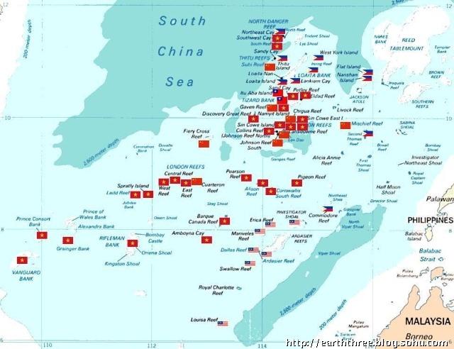 南海仅南沙群岛各国实际控制图