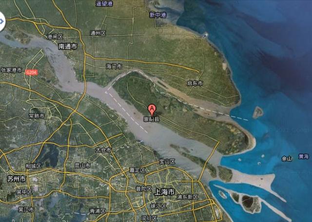 从卫星地图上看,崇明岛的形状像是浮在水面的