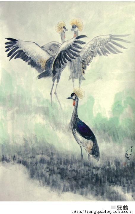 ; 房企遐中国画作品 冠鹤99x69cm 2009; 画家房企遐的微博