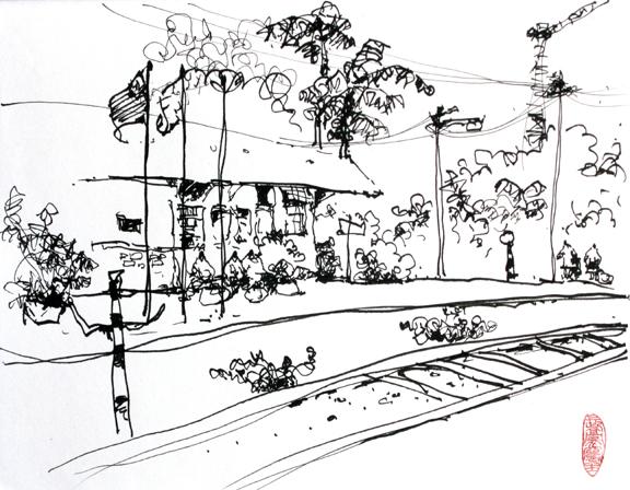 新加坡火车站速写