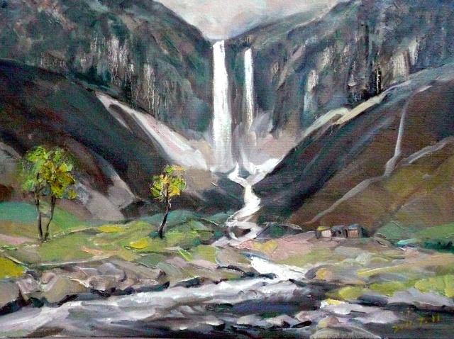 松树风景油画大师