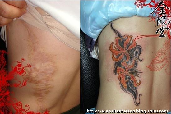 男人腿部紫鱼(2)纹身图案