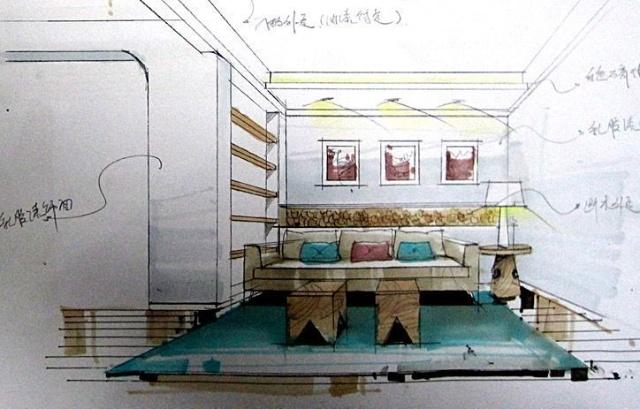 屋主diy的客厅手绘图 卧室手绘图 卫生间手绘图. 客厅局部手绘图.