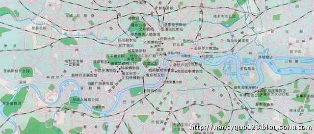 先上张伦敦地图,再去研究它的地铁和红色的双层巴士.