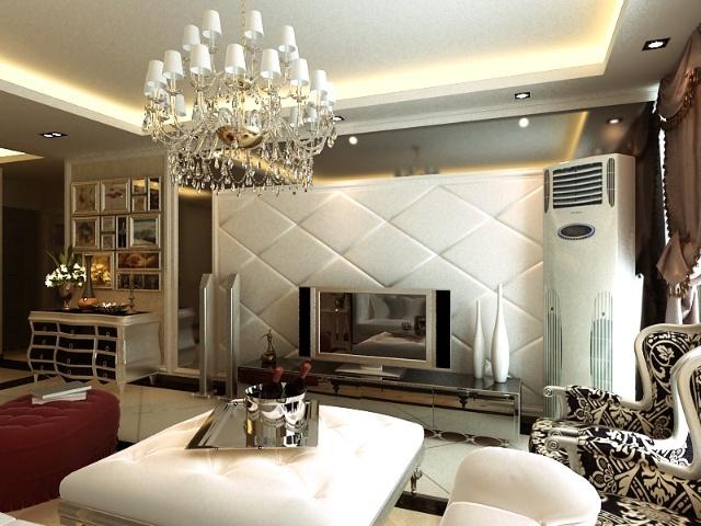 设计说明: 此客户喜欢华丽淡雅的视觉空间,因此风格定位于奢华欧式,电视背景墙的软包与沙发背景墙在色彩上相互呼应,使客厅空间更有整体、开阔的感觉。此外在空间内多运用了镜子和具有金属质感的配饰,更加衬托出其华丽的视觉效果。 客户类型:中年夫妇 家庭结构:三口之家